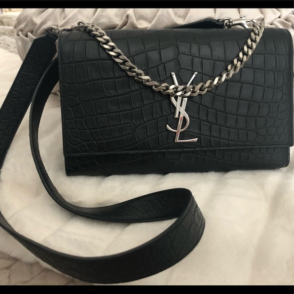 YSL Kate M Croc Embossed Leather Nero. M 5c4ca7355c4452a2a1588eb7. Other  Bags you may like. Yves Saint Laurent ... 0ed1b9a14224e